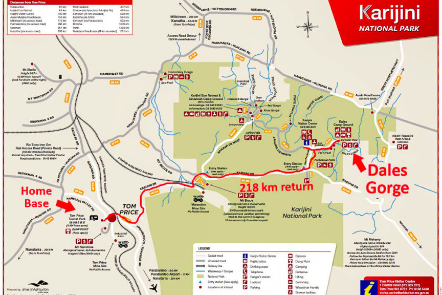 Dales Gorge route map