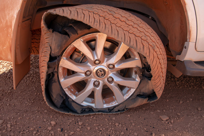 A bad flat tyre